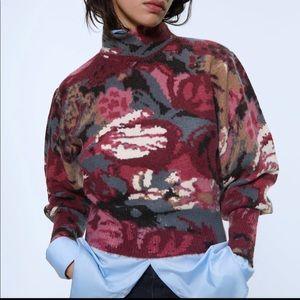 Beautiful Zara Burgundy Balloon Sleeve Sweater